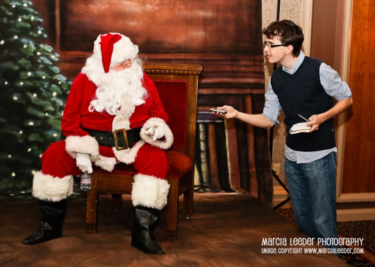 Santa being interviewed. photo provided by Marcia Leeder